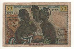 FRENCH WEST AFRICA  50  Francs   P45  ( ND 1956 - Institut D'Émission De L'Afrique Occidentale Française Et Du Togo ) - Togo