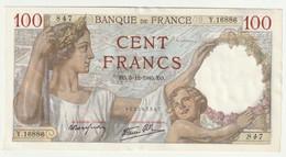 Billet 100 Francs  SULLY  - 5-12-1940  N° Y.16886 - 847  (Neuf) - 100 F 1939-1942 ''Sully''