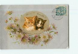 Carte Illustrateur - Chats En Médaillon Dans Cadre Fleurs Marguerittes - CHAT -  2 Scans - Cats