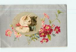 Carte Illustrateur - Chats En Médaillon Dans Cadre Fleurs Pensées Et Primevères - CHAT -  2 Scans - Cats