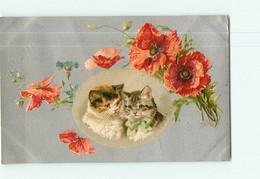 Carte Illustrateur - Chats En Médaillon Dans Cadre Fleurs Coquelicots - CHAT -  2 Scans - Cats