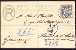1897 R-GZ Brief (2 Annas) Mit Zusatzfrankatur 3 Annas Nach Halle In Deutschland Gelaufen. Ankunftsstempel - Zanzibar (...-1963)