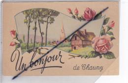 Un Bonjour De Chauny (02) Carte Fantaisie Illustrée D'époque Signé Erpé - Chauny