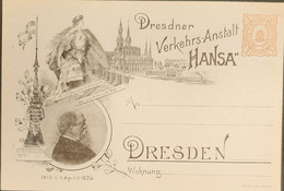Germany Stadtpost/Privatpost Dresden 1895 Ganzsachen  3 Pfg Verkehrs-Anstalt Hansa - Stamped Stationery