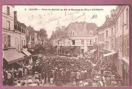Cp Loches Place Du Marché Au Blé Et Musique Du 32ème D'artillerie  - édition Reymound ? N°2 - Loches