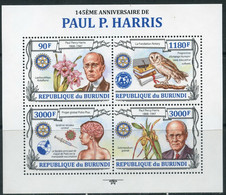AM40 BURUNDI 2013 BU053 Paul P. Harris. Rotaru Club. Owls. Birds. Orchids. The Medicine. Flowers - Rotary, Lions Club