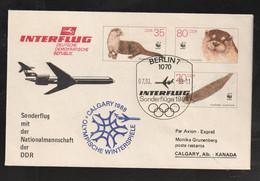 """DDR - 1988 - Ganzsachenumschlag Mi. U 7 Mit Zudruck """"Sonderflug Olympiade"""" (E686) - Covers - Used"""