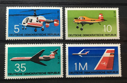 (528) DDR 1972 : Sc# 1366-1369 AIRCRAFT KAMOV HELICOPTER SPRAY PLANE ILYUSHIN JET INTERFLUG EMBLEM - MNH VF - Ongebruikt