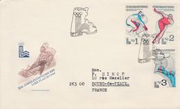 TCHECOSLOVAQUIE FDC 1980 J O LAKE PLACID POUR LA FRANCE - Covers & Documents