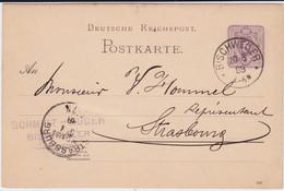 DR Pfennig Ganzsache P 18 Elsass K1 Bischweiler France 1888 - Stamped Stationery