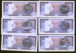 Aeronautics 2012 Set Of 5 Colourful Notes Featuring Planes On Coins UNC - Cuba