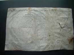 MANUSCRIT..Grand PARCHEMIN VELIN XVIe SIECLE 1599 NORMANDIE, VICOMTE AVRANCHES, ST MARTIN De MONJOIE MANCHE à Déchiffrer - Manoscritti