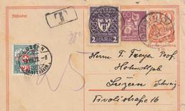 Allemagne Entier Postal Taxé En Suisse 1922 - Stamped Stationery