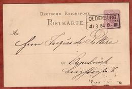 P 12/01 Krone, Oldenburg Nach Osnabrueck 1884 (3074) - Stamped Stationery