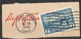 Canada 1949 Sc CO1  Air Post Official Used On Piece Ottawa CDS - Surchargés