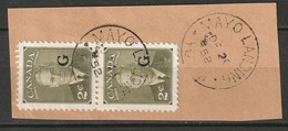 Canada 1952 Sc O17  Official Pair Used On Piece Mayo Landing Yukon CDS - Surchargés