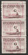 Canada 1963 Sc O39  Official Strip Of 3 Used Teslin Yukon Cancel - Surchargés