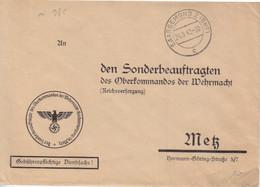 Lettre Pré-imprimée (...Oberkommandos...) De Sarreguemines (T 327 Saargemünd 2 BHF C) En Franchise Le 24/9/42 - Alsace Lorraine