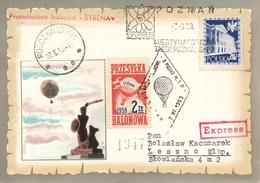 "Poland 1959 Souvenir Thincard Posted By Balloon Post From Rogozno To Leszno Flown By Balloon ""Syrena"" - Ballonpost"