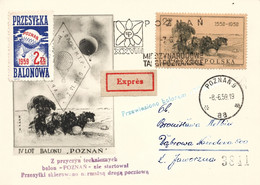 "Poland 1959 Souvenir Thincard Posted By Balloon Post From Poznan To Dabrowa Narodowa Flown By Balloon ""Poznan"" - Ballonpost"