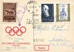 Poland 1960 Souvenir Rome Olympics Games Postcard Posted By Balloon Post From Lodz To Koszalin - Ballonpost