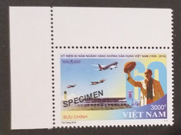 Vietnam MNH SPECIMEN Stamp 2016 : 60th Anniversary Of Air Viet Nam / Airplane (Ms1063) - Vietnam