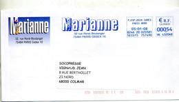 Lettre Flamme Ema Paris Revue Marianne Entete - EMA (Printer Machine)