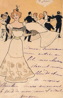 Attribué à Raphael Kirchner - Art Nouveau Danse Bal Femme éventail 1900 - Kirchner, Raphael