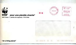 Lettre Flamme Ema Rennes Scce A Entete Wwf Panda Entaille - EMA (Printer Machine)