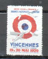 Erinophilie, Vignette Aviation, Journees Nationales De L'aviation Vincennes 1929 - Luchtvaart