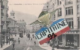 CPA GRENOBLE ISERE LES GALERIES MODERNES ET RUE FELIX POULAT - Grenoble