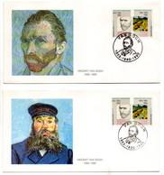 PAYS-BAS--1990--VAN GOGH--centenaire De Sa Mort--Lot De 4 Enveloppes Souvenirs..timbre.....cachet.. - Storia Postale