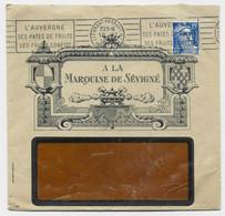 GANDON 15FR BLEU PERFORE ENVELOPPE A FENETRE ENTETE A LA MARQUISE DE SEVIGNE CLERMONT FERRAND 19.12.1954 PUY DOME RARE - Perfins