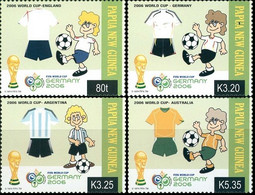 Soccer Football Papua New Guinea #1186/9 2006 World Cup Germany MNH ** - 2006 – Duitsland