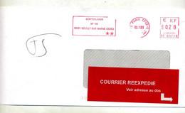 Lettre Flamme Ema Paris CPCE-D Cortexlaser Réexpédié Flamme Muette Paris 12 - EMA (Printer Machine)