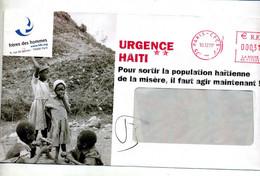 Lettre Flamme Ema  Paris CPCE-P Urgence Haiti - EMA (Printer Machine)