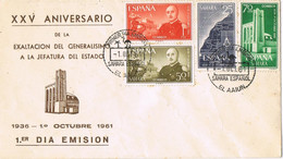 39043. Carta F.D.C. EL AAIUN (Sahara Español) 1961. Exaltacion Caudillo Jefatura Estado - Sahara Spagnolo