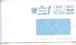 Lettre Flamme Ema Cergy Mise Sous Enveloppe Secap Pitney Bowes - EMA (Printer Machine)