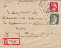 Lettre Rec. De Stiring-Wendel (T 330 Forbach Westm - Stieringen A) TP Hitler 12pf, 30pf Le 7/8/44 - Elzas-Lotharingen