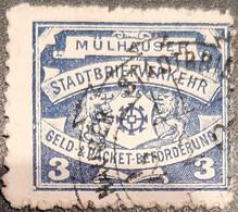 Germanmy Stadtpost/PrivatpostMülhausen (Elsaß) 1900 3 Pfg Used Michel 11 - Sello Particular