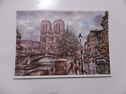 D 75 - Paris - Le Quai Et Notre Dame - J Chardon - Peinture - Notre Dame De Paris