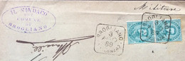 VENETO - BROGLIANO * VICENZA  3 AGO 89  Collettoria Quadrata Su Coppia UMBERTO 5 C.su PIEGO PER TRISSINO Annullo Retro - Marcophilia