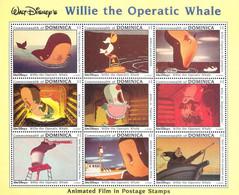 MWD-BK2-082-3 MINT PF/MNH ¤ DOMINICA 1992 BLOCK ¤ WILLIE THE OPERATIC WHALE - DISNEY FRIENDS - Disney