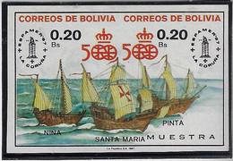 Bolivia Mi-1060a/1061a Espamer Ship Columbus Caravel Se Tenant Imperforated Overprint Muestra Proof Discovery America - Barche