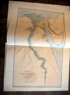 """EGYPTE 1872-73. Atlas Dédicacé: """"Principaux Travaux"""" Par Linant. De BELLEFONDS BEY. Ed. A. Bertrand + 1 Carte Originale - Documents Historiques"""