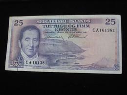 ISLANDE- 25 Tuttugu Og Fimm  Kronur 1961 - Sedlabanki Islands  **** EN ACHAT IMMEDIAT **** - Iceland