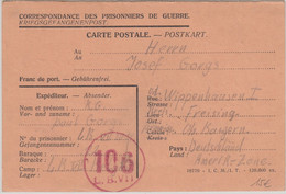Belgien/All.Bes. - Lager LBVII Kriegsgefangenenkarte N. Wippenhausen 1947 - Unclassified