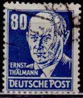DDR, East Germany, 1952, Ernst Thälmann, 80pf, Used - Gebraucht