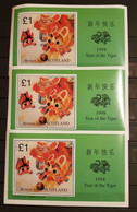 BERNERA ISLAND SCOTLAND 1998 YEAR OF THE TIGER 3 M/SHEETS PERFORED MNH - Astrología