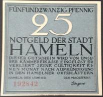 Sza.20 - Germany 1921 Notgeld Banknote 25 Pfennig Hameln Grabowski/Mehl 566.1a-1/4 - [11] Local Banknote Issues